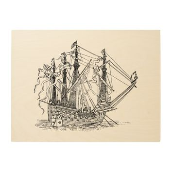 Nautical Big Ship Drawing Wood Print