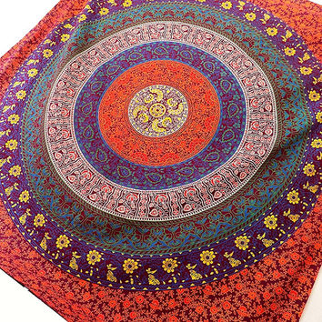 QUEEN cotton Floral Mandala Hippie Boho Large Wall Hanging Indian Bohemian Tapestry Bedding Throw Bedspread Ethnic Home Decor