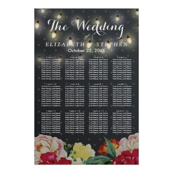 Elegant Floral String Lights Wedding Seating Chart Poster