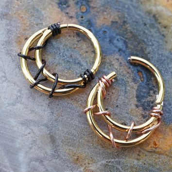 Crescent Moon Gold Daith Hoop Ring Rook Hoop Cartilage Helix