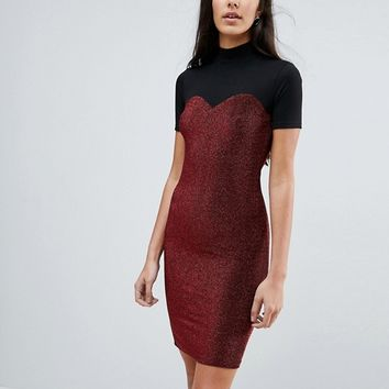 Noisy May Tall High Neck Mesh Top Glitter Bodycon Dress at asos.com
