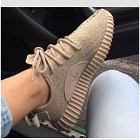 "Cute ""Adidas"" Boost Sneakers Running Sports Shoes For Woman Men Khaki Yeezy"