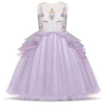 Fancy Girls Unicorn Pink Dress Fairy Princess Costume For Kids Embroidery Birthday Party Frocks Junior Wedding Event Gowns 3-8T