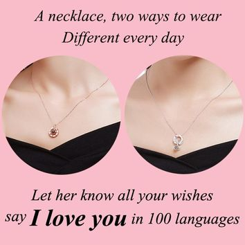 925 Silver Trendy Projection 100 Languages I Love You Pendant Necklace For Women Romantic Love Memory Charm New Arrival 2018 HOT