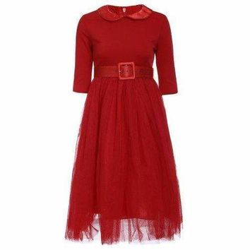 Peter Pan Collar Long Sleeve A-Line Midi Dress - Red 2xl