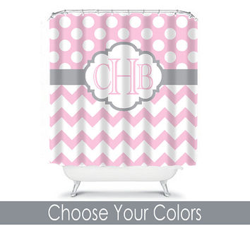Pink Gray Shower Curtain Monogram Initials Girl Name CUSTOM Polka Dot Circles Chevron Choose Colors Bathroom Bath Polyester Made in USA