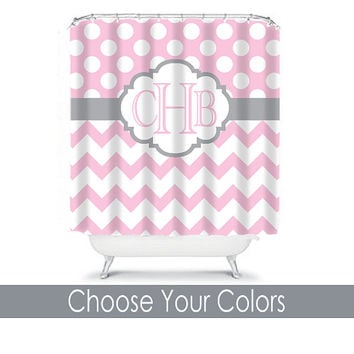 Etonnant Pink Gray Shower Curtain Monogram Initials Girl Name CUSTOM Polka Dot  Circles Chevron Choose Colors Bathroom