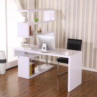 HomCom Foldable Rotating Corner Writing Desk - Finish: White