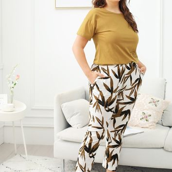 Plus Bamboo Leaf Print Pajama Set