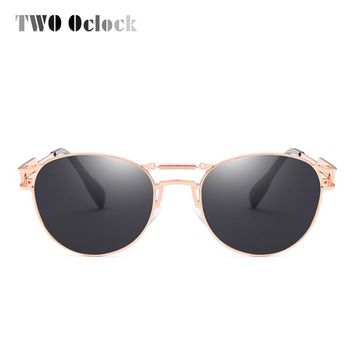 TWO Oclock Cool Vintage Steampunk Sunglasses Women Men Spring Metal Sun Glasses UV400 Retro Punk Eyewear Accessory Oculos R66208
