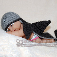 Sea Marine Critter - Shark Hat and back cover set - Photo Prop for baby - Pick your color