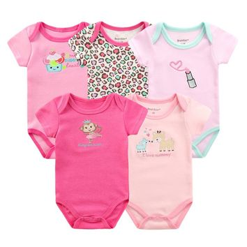 New Baby Rompers 5pcs/lot Baby Clothes Cotton 0-9M Newborn Baby Clothing Overalls Short Sleeve Fashion Pattern Cartoon Jumpsuits