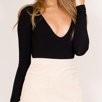 Black V-neck Backless Long Sleeve Bodysuit