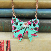 Sweet Bow Necklace - Recycled Soda Can Art - DOUBLE-SIDED - Arizona Tea