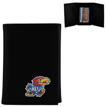 Kansas Jayhawks Men's Designer Leather Tri-Fold Wallet