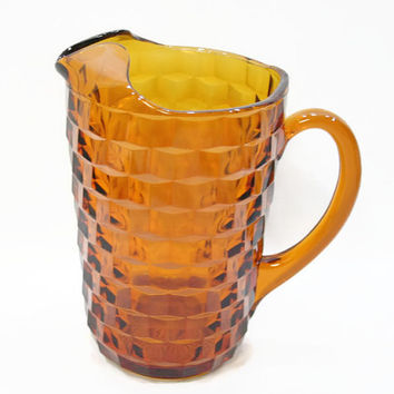 Indiana Glass Amber Whitehall Pitcher with Ice Lip