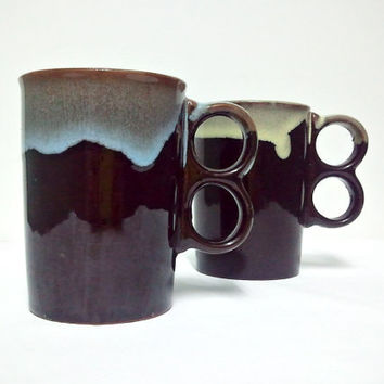 Vintage Trigger Mugs  Set of two in Brown Blue by ItchforKitsch