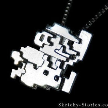 Mario Pendant 8bit Silver by sketchystories on Etsy