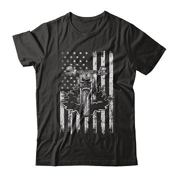 American Motorcycle Motorbike Us Flag Cool Biker