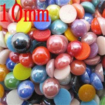 ac spbest 5-10mm Natural 3D Stone Beads 300Pcs Colorful Craft Domes Cabochon Flatback Cameo Beads for Jewelry Making DIY Scrapbooking