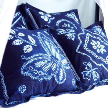 Set of four tie dye pillow covers Hand dyed indigo pillows Batik dark blue cushion covers Tribal pillow set Bohemian decor Boho home ware