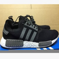 "Women ""Adidas"" NMD Boost Casual Sports Shoes Black grey stripe"