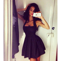 2015 New Women's Bohemian Pleated Sleeveless Dress Casual Spring And Sexy Black Mini Sizes