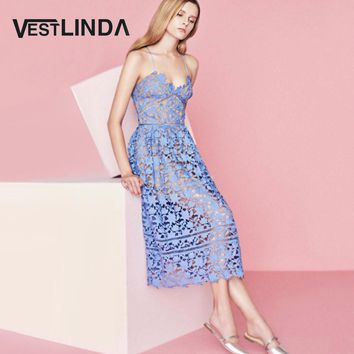 VESTLINDA Spaghetti Strap Backless Hollow Out Crochet Lace Dress Women Vestidos Mujer Robe Femme 2017 Summer Sexy Maxi Dress