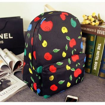 PEAPUG3 Apple Casual Korean Canvas Backpack = 4887869380