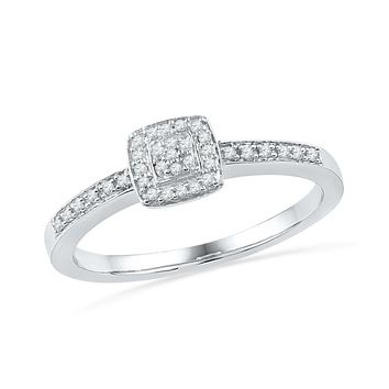 Sterling Silver Round Diamond Promise Ring (0.12 CTTW)
