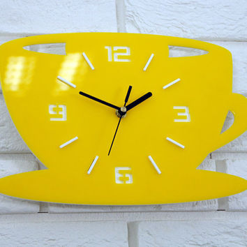 Large wall clock, Clock to kitchen,  modern clock Yellow, gift, wall decoration, Unique wall clocks, wedding gift