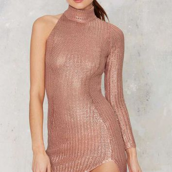 Nightwalker Jungle Jane Metallic Knit Dress - Pink