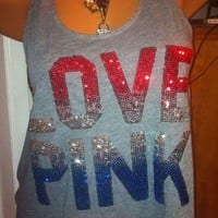 NWT Victoria's Secret 4th Of July Racer Back Bling TANK TOP LOVE PINK Xs
