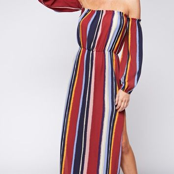 Bringing The Drama Vertical Stripe Pattern Long Sleeve Off The Shoulder Side Slit Casual Maxi Dress - 2 Colors Available