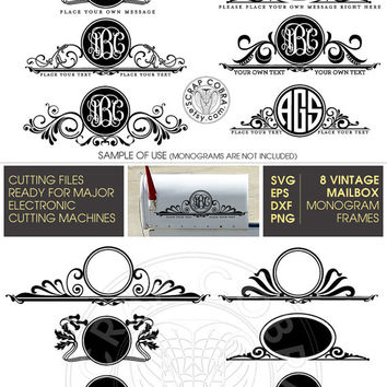 Mailbox Monogram Frames - Vector Clip Art - SVG, eps, dxf, png - Cut Files for Silhouette Studio, Cricuit, other e-cutting machines CV-451