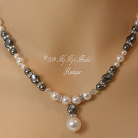 Pearl and Crystal Bridal Necklace, Pearl and Crystal Bridesmaid Necklace, Gray Pearl Necklace, Wedding Jewelry, Custom Necklace