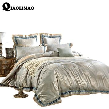 4/6 Pieces King Queen Size Luxury Sateen Jacquard Bedding Home Decorative Bed Cotton Duvet Cover Set Wedding Bed Sheet Set Gifts