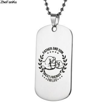 Fashion Stainless Steel Pendant My Son Tag father son Necklace Nameplated Necklace Dog Tag Best friends for life