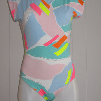 Vintage 80s 90s Leotard Bodysuit Workout Danskin Abstract Neon Pastel  Spandex M