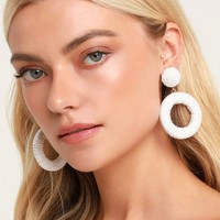 Ocho Rios White Woven Hoop Earrings