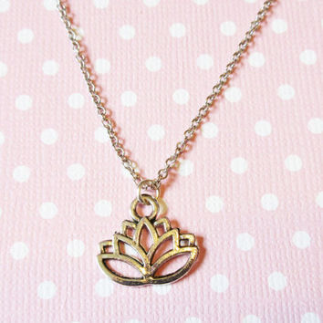 Dainty Lotus Flower Charm Necklace, Silver Lotus Chain Necklace