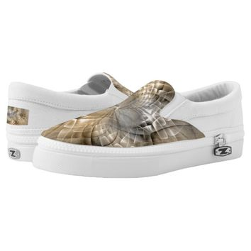 Earth Tones Abstract Modern Fractal Art Texture Slip-On Sneakers