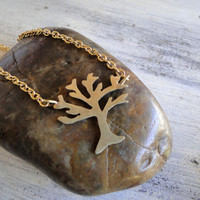 14K Gold Filled Necklace - Hand Cut Tree Pendant on 14K Gold Filled Chain - Everyday Wearable Jewelry Unique Gift Ideas by Gioielli Designs