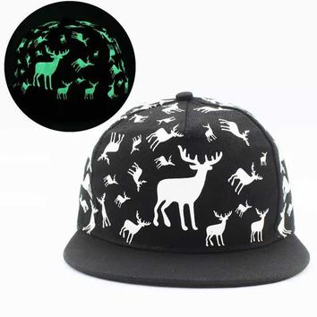 Hot New Men Women Glow In The Dark Print WAPITI Snapback Hats Adjustable Fluorescent Christmas Gift Baseball Cap Luminous Hats
