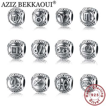 AZIZ BEKKAOUI 925 Sterling Silver Twelve Constellations Zodiac Beads Charm Fit Pandora Bracelet Unique Big Hole Star Sign Beads