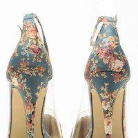 Liliana Blue Floral Pointed Toe Ankle Strap Vinyl Heels @ Cicihot Heel Shoes online store sales:Stiletto Heel Shoes,High Heel Pumps,Womens High Heel Shoes,Prom Shoes,Summer Shoes,Spring Shoes,Spool Heel,Womens Dress Shoes