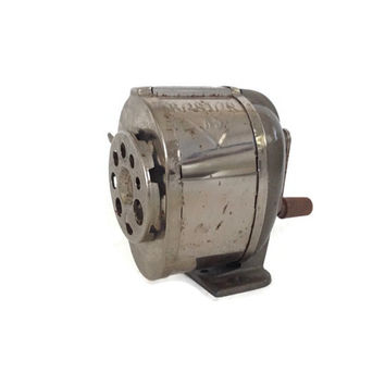 Vintage Pencil Sharpener, Desk/ Wall Mount, Grey Metal and Chrome, Adjustable for Pencil Sizes, Manual Hand Crank, Retro Office, Industrial