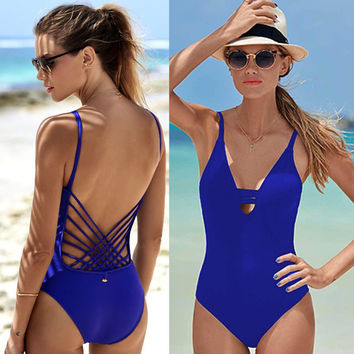 2017 Ladies One Piece Swimsuit Sexy Swimwear Women Bathing Suit Swim Vintage Summer Beach Wear Print Bandage Monokini Swimsuit