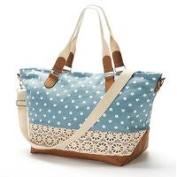 Candie's Denim Hearts & Dots Crochet Weekender Bag (Blue)