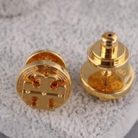 Tory burch two piece shining golden earrings HIGH QULITY